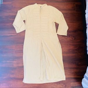 Long cream colored tunic with button details sz M